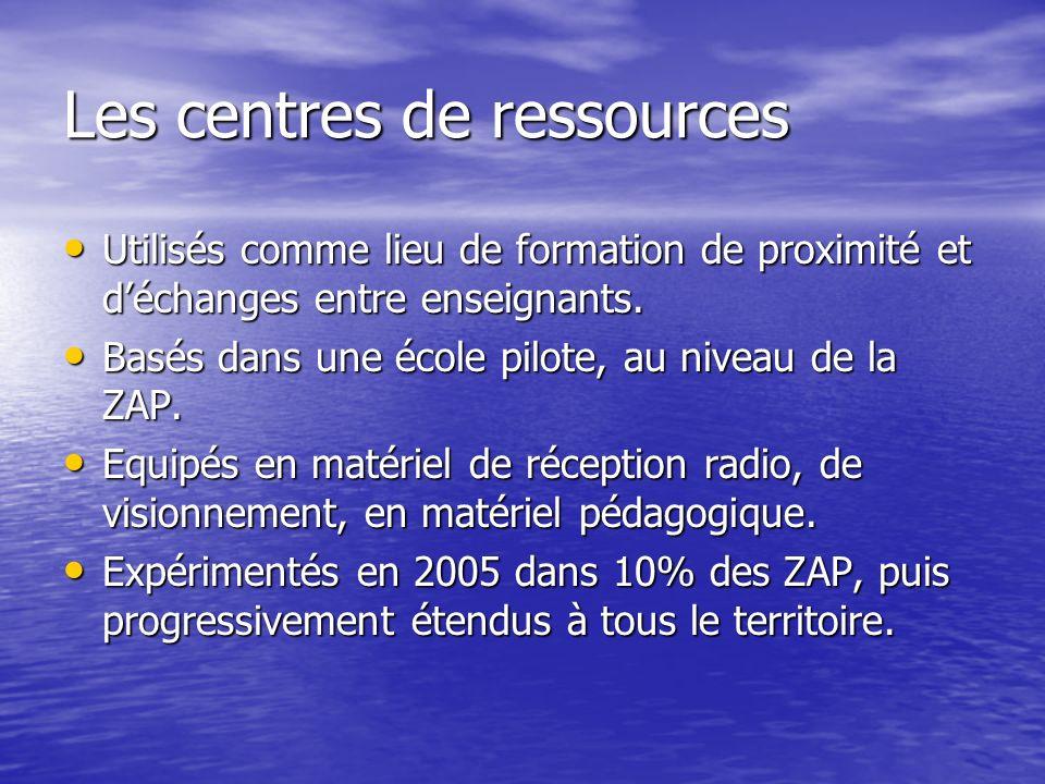 3. Des centres de ressources et des supports de formation par radio Dans les zones éloignées, enclavées, les enseignants sont souvent livrés à eux- mê