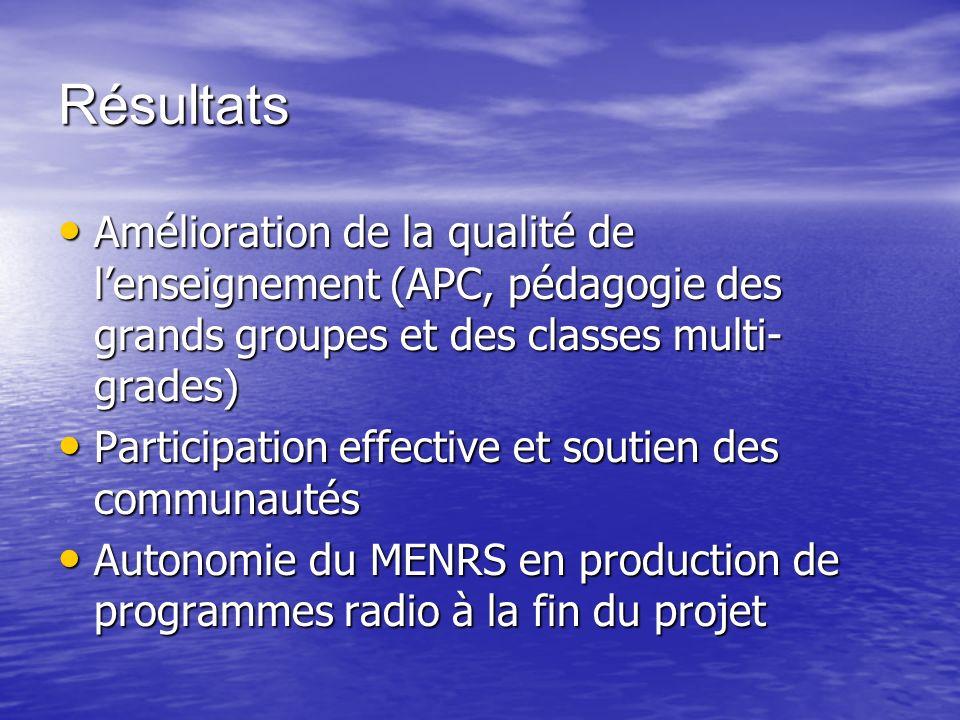 Résultats Amélioration de la qualité de lenseignement (APC, pédagogie des grands groupes et des classes multi- grades) Amélioration de la qualité de l