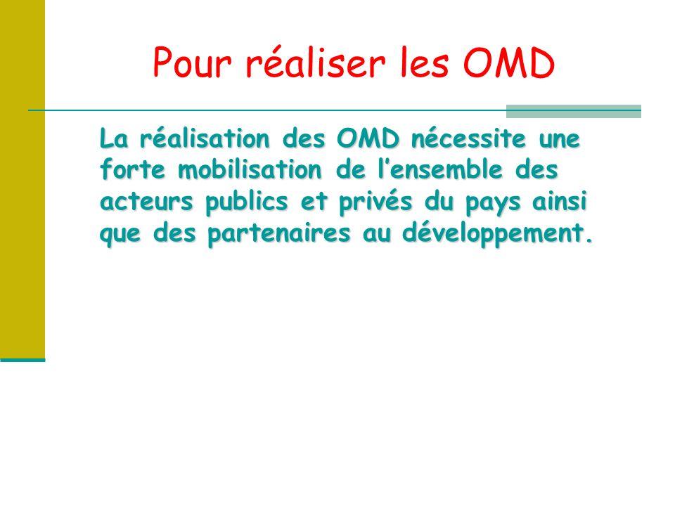 Pour réaliser les OMD La réalisation des OMD nécessite une forte mobilisation de lensemble des acteurs publics et privés du pays ainsi que des partenaires au développement.