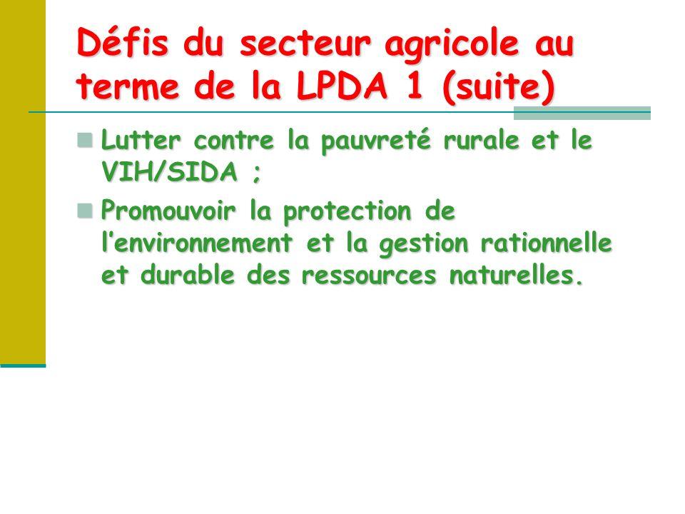 Défis du secteur agricole au terme de la LPDA 1 (suite) Lutter contre la pauvreté rurale et le VIH/SIDA ; Lutter contre la pauvreté rurale et le VIH/SIDA ; Promouvoir la protection de lenvironnement et la gestion rationnelle et durable des ressources naturelles.