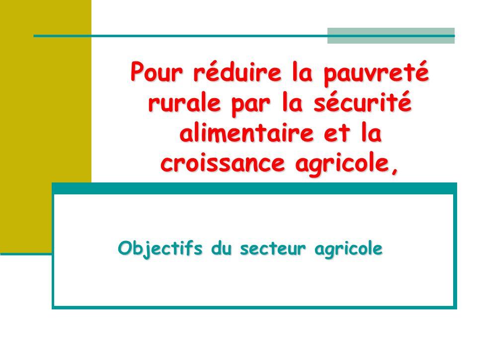 Pour réduire la pauvreté rurale par la sécurité alimentaire et la croissance agricole, Objectifs du secteur agricole