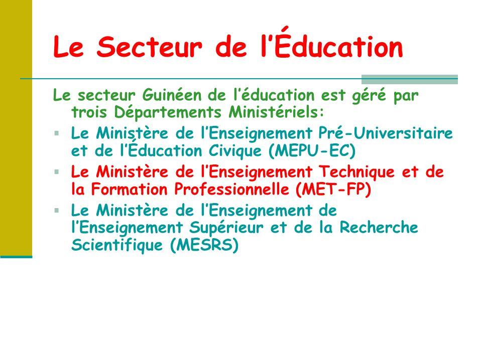 Le Secteur de lÉducation Le secteur Guinéen de léducation est géré par trois Départements Ministériels: Le Ministère de lEnseignement Pré-Universitaire et de lÉducation Civique (MEPU-EC) Le Ministère de lEnseignement Technique et de la Formation Professionnelle (MET-FP) Le Ministère de lEnseignement de lEnseignement Supérieur et de la Recherche Scientifique (MESRS)
