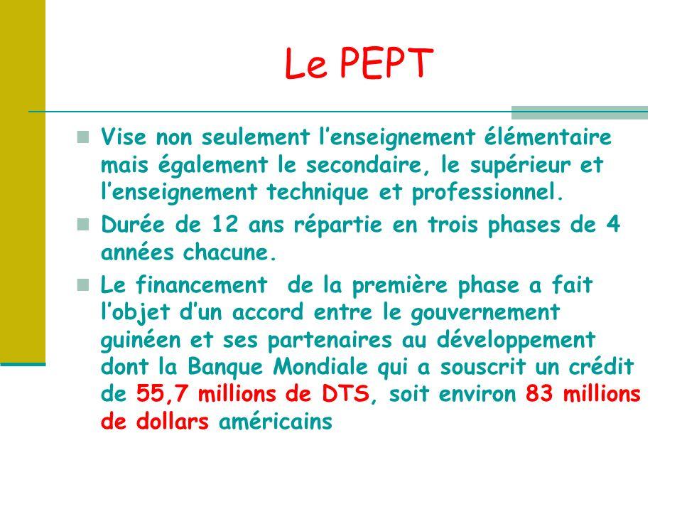 Le PEPT Vise non seulement lenseignement élémentaire mais également le secondaire, le supérieur et lenseignement technique et professionnel.