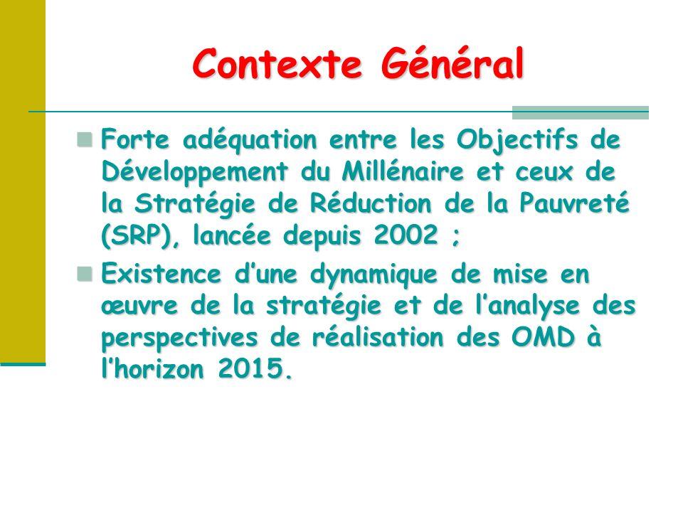 Contexte Général Forte adéquation entre les Objectifs de Développement du Millénaire et ceux de la Stratégie de Réduction de la Pauvreté (SRP), lancée depuis 2002 ; Forte adéquation entre les Objectifs de Développement du Millénaire et ceux de la Stratégie de Réduction de la Pauvreté (SRP), lancée depuis 2002 ; Existence dune dynamique de mise en œuvre de la stratégie et de lanalyse des perspectives de réalisation des OMD à lhorizon 2015.