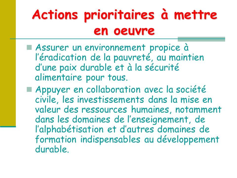 Actions prioritaires à mettre en oeuvre Assurer un environnement propice à léradication de la pauvreté, au maintien dune paix durable et à la sécurité alimentaire pour tous.