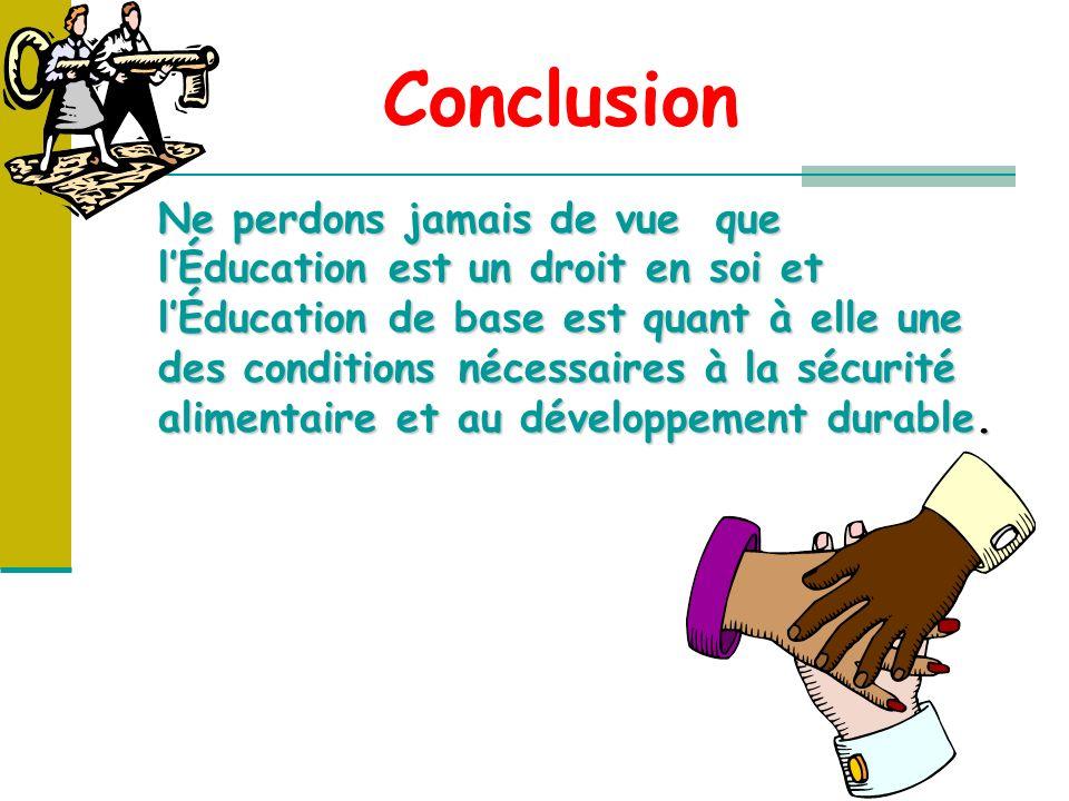 Conclusion Ne perdons jamais de vue que lÉducation est un droit en soi et lÉducation de base est quant à elle une des conditions nécessaires à la sécurité alimentaire et au développement durable.