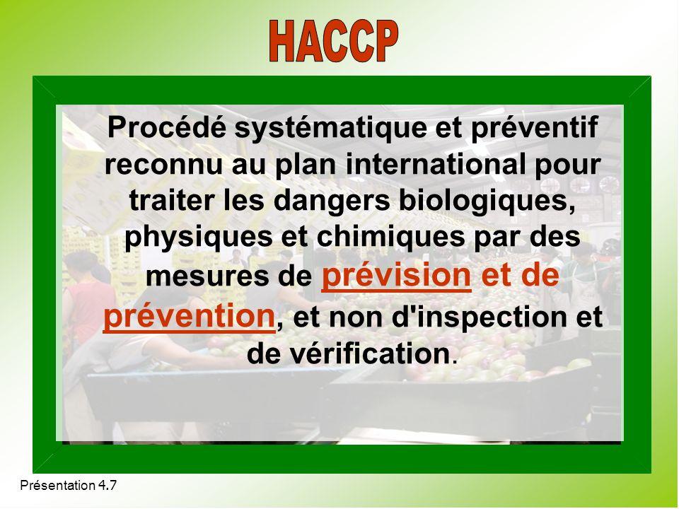 Procédé systématique et préventif reconnu au plan international pour traiter les dangers biologiques, physiques et chimiques par des mesures de prévis