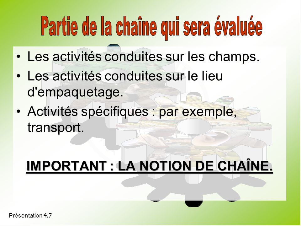 Présentation 4.7 Les activités conduites sur les champs. Les activités conduites sur le lieu d'empaquetage. Activités spécifiques : par exemple, trans