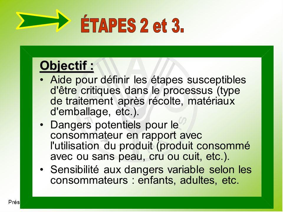 Présentation 4.7 Objectif : Aide pour définir les étapes susceptibles d'être critiques dans le processus (type de traitement après récolte, matériaux