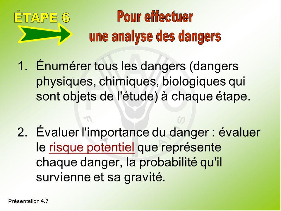 Présentation 4.7 1.Énumérer tous les dangers (dangers physiques, chimiques, biologiques qui sont objets de l'étude) à chaque étape. 2.Évaluer l'import
