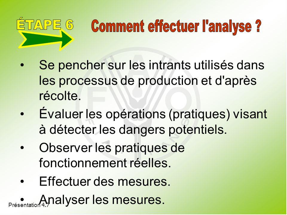 Présentation 4.7 Se pencher sur les intrants utilisés dans les processus de production et d'après récolte. Évaluer les opérations (pratiques) visant à