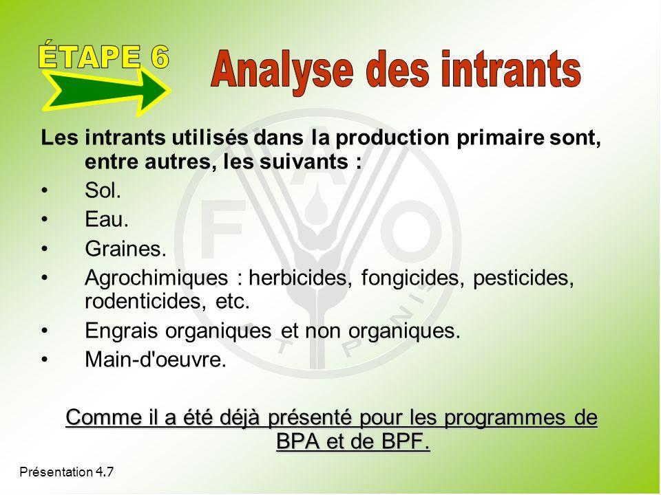 Présentation 4.7 Les intrants utilisés dans la production primaire sont, entre autres, les suivants : Sol. Eau. Graines. Agrochimiques : herbicides, f