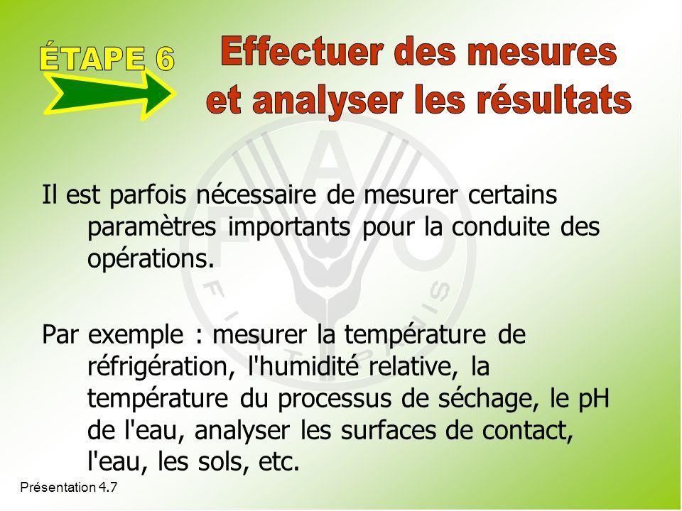 Présentation 4.7 Il est parfois nécessaire de mesurer certains paramètres importants pour la conduite des opérations. Par exemple : mesurer la tempéra