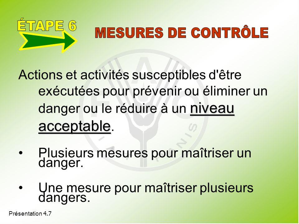 Présentation 4.7 niveau acceptable Actions et activités susceptibles d'être exécutées pour prévenir ou éliminer un danger ou le réduire à un niveau ac