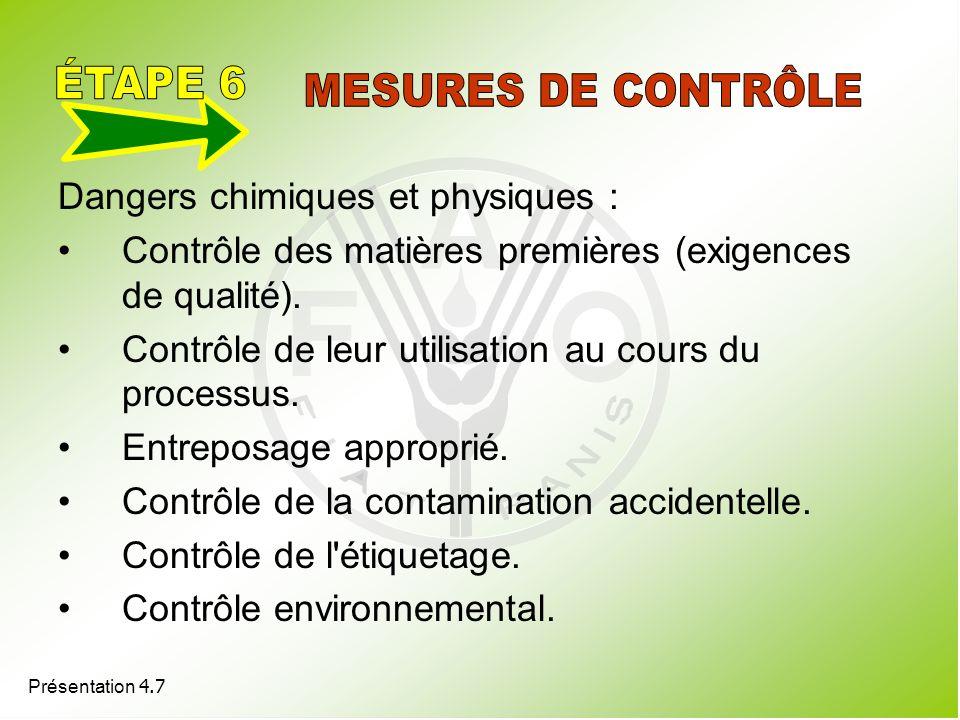 Présentation 4.7 Dangers chimiques et physiques : Contrôle des matières premières (exigences de qualité). Contrôle de leur utilisation au cours du pro