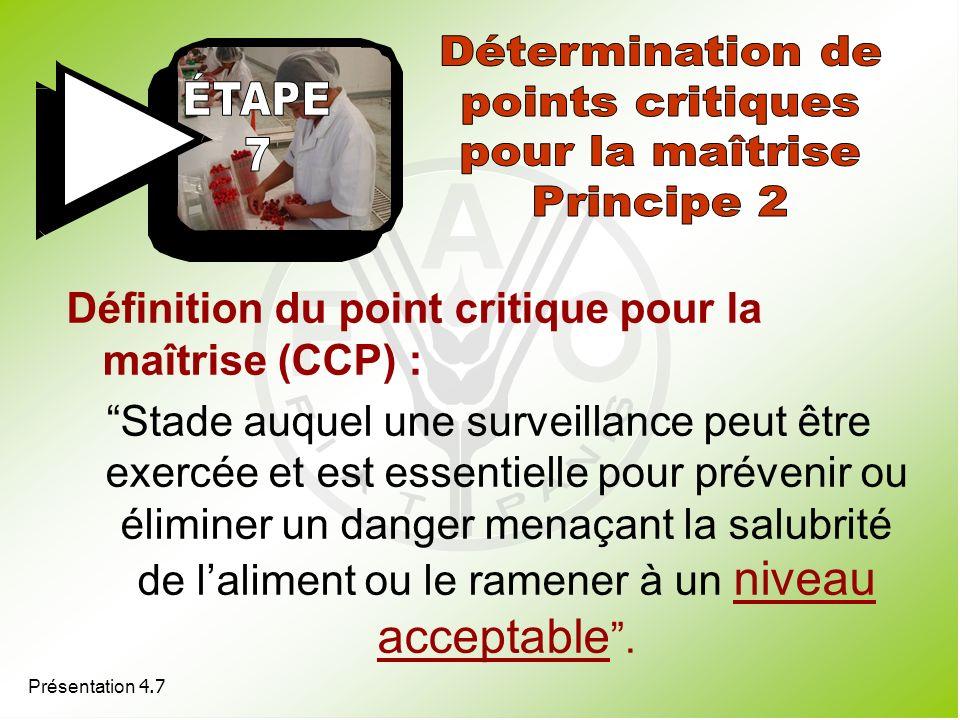 Définition du point critique pour la maîtrise (CCP) : Stade auquel une surveillance peut être exercée et est essentielle pour prévenir ou éliminer un