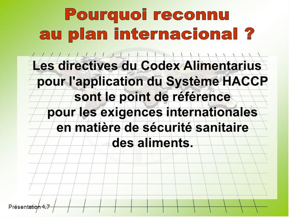 Présentation 4.7 Les directives du Codex Alimentarius pour l'application du Système HACCP sont le point de référence pour les exigences internationale