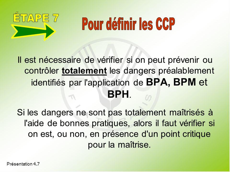 Présentation 4.7 Il est nécessaire de vérifier si on peut prévenir ou contrôler totalement les dangers préalablement identifiés par l'application de B