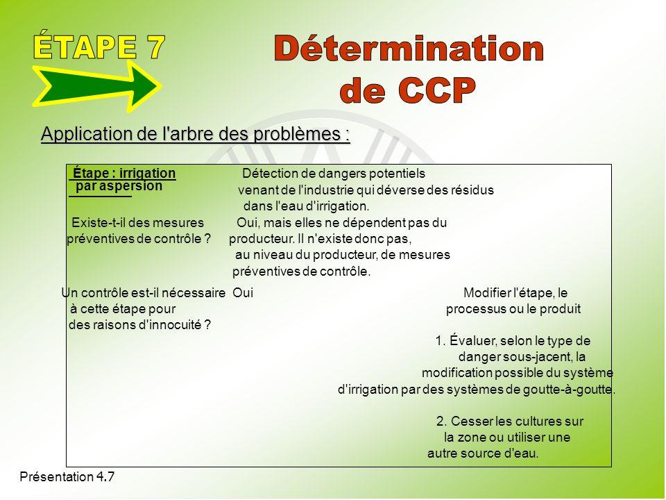 Présentation 4.7 Application de l'arbre des problèmes : Étape : irrigation par aspersion Détection de dangers potentiels venant de l'industrie qui dév