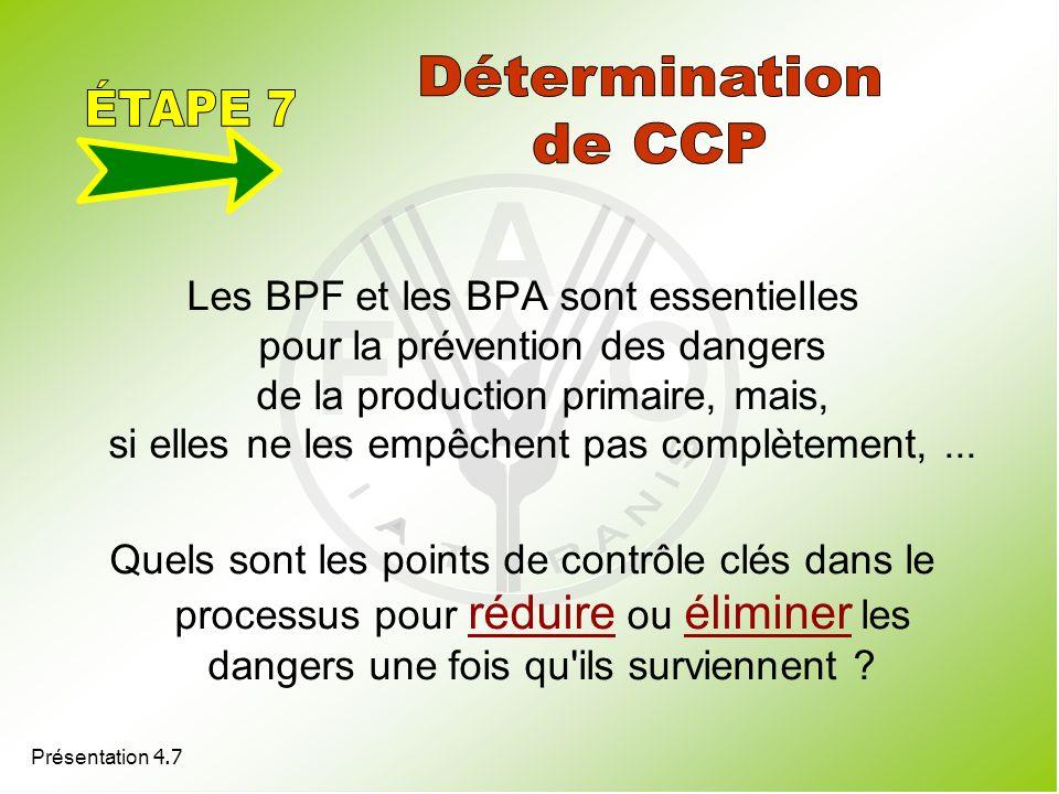 Présentation 4.7 Les BPF et les BPA sont essentielles pour la prévention des dangers de la production primaire, mais, si elles ne les empêchent pas co