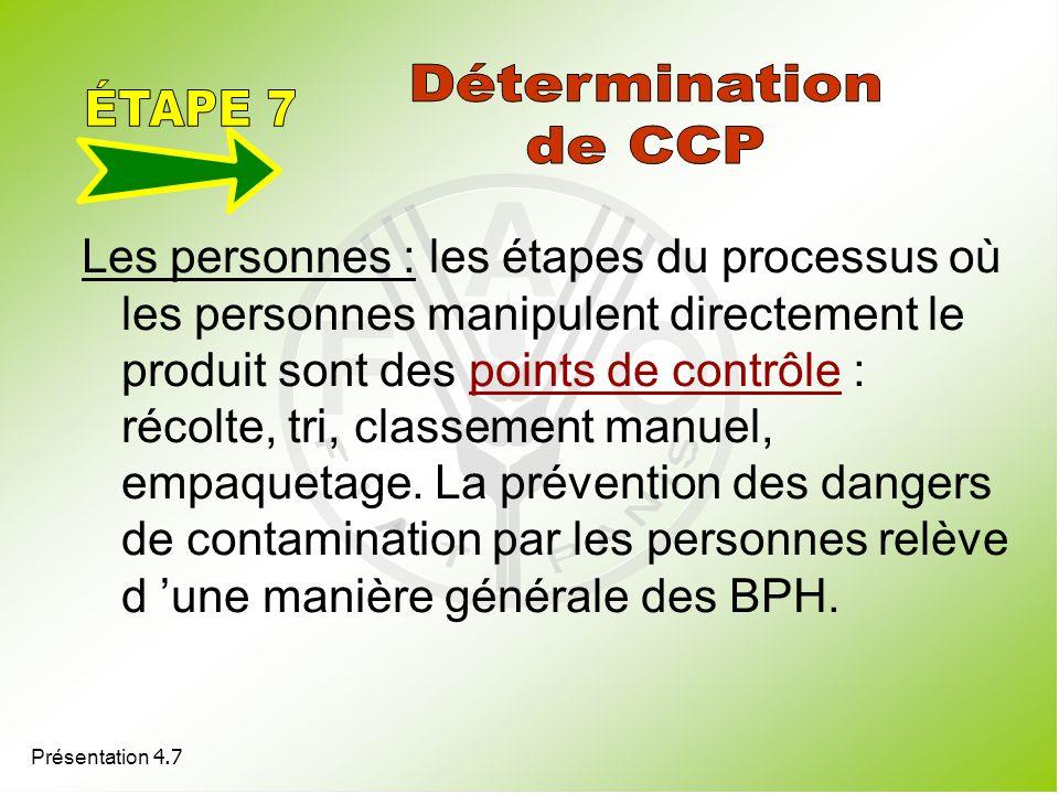 Présentation 4.7 Les personnes : les étapes du processus où les personnes manipulent directement le produit sont des points de contrôle : récolte, tri