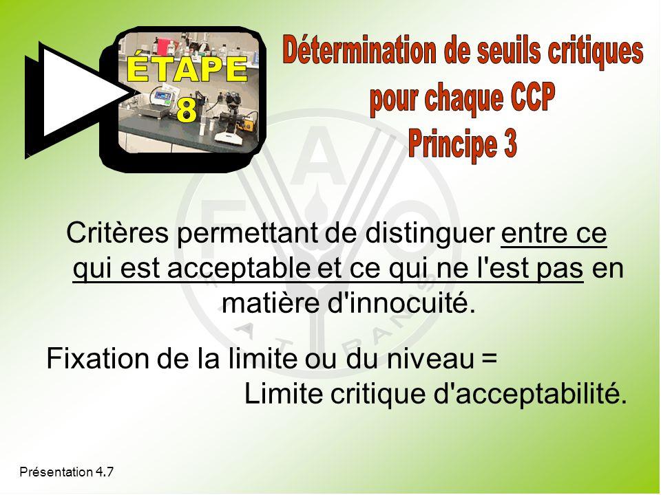 Présentation 4.7 Critères permettant de distinguer entre ce qui est acceptable et ce qui ne l'est pas en matière d'innocuité. Fixation de la limite ou
