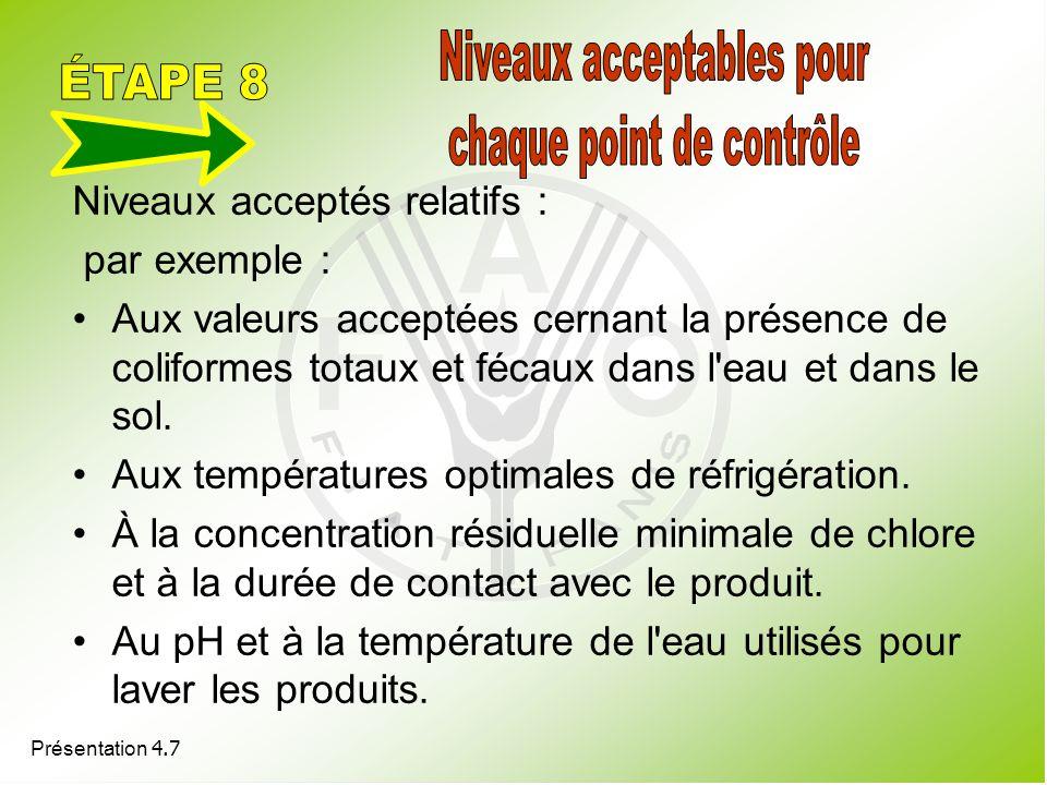 Présentation 4.7 Niveaux acceptés relatifs : par exemple : Aux valeurs acceptées cernant la présence de coliformes totaux et fécaux dans l'eau et dans
