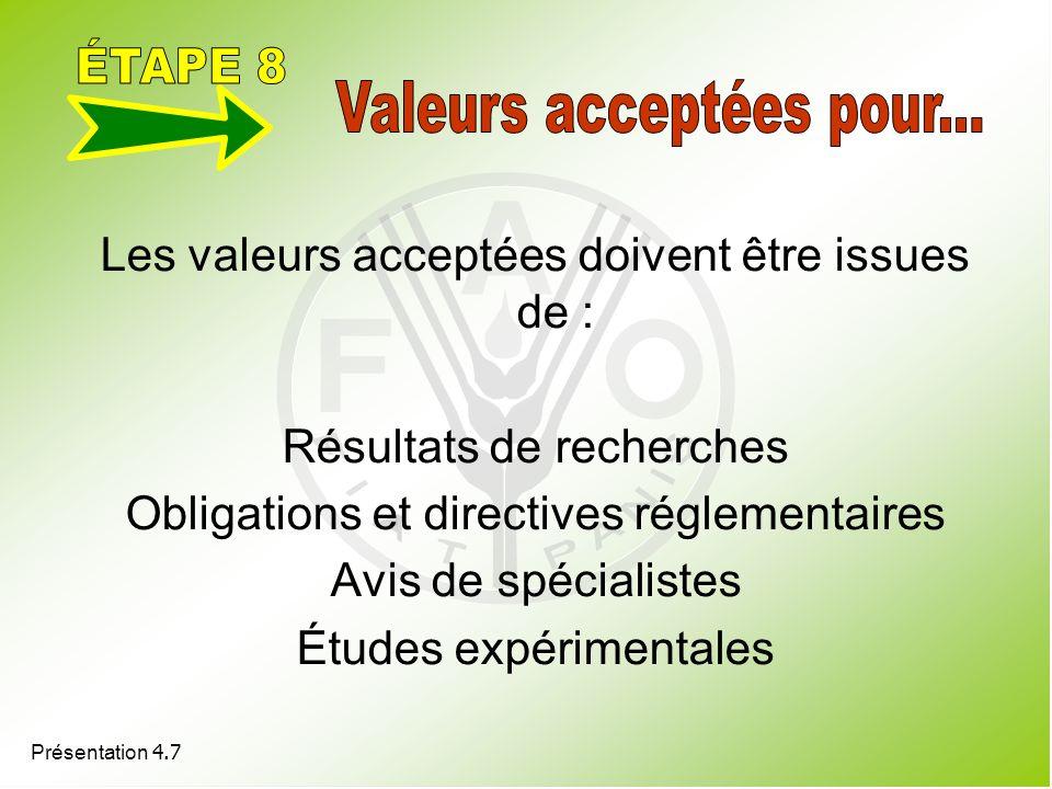 Présentation 4.7 Les valeurs acceptées doivent être issues de : Résultats de recherches Obligations et directives réglementaires Avis de spécialistes