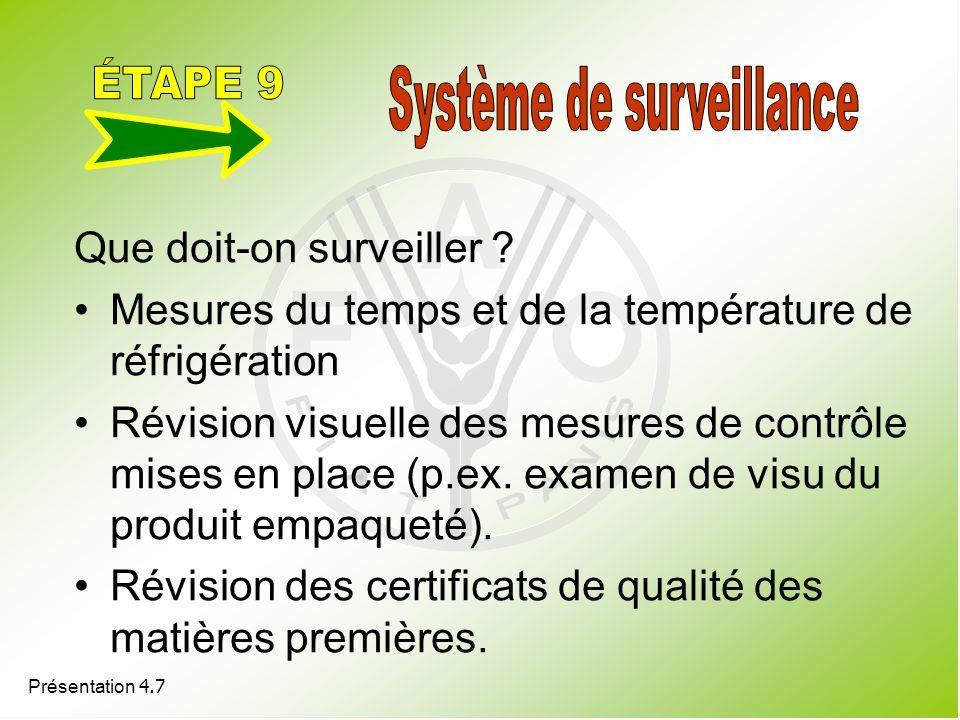Présentation 4.7 Que doit-on surveiller ? Mesures du temps et de la température de réfrigération Révision visuelle des mesures de contrôle mises en pl