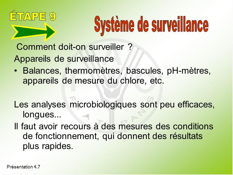 Présentation 4.7 Comment doit-on surveiller ? Appareils de surveillance Balances, thermomètres, bascules, pH-mètres, appareils de mesure du chlore, et