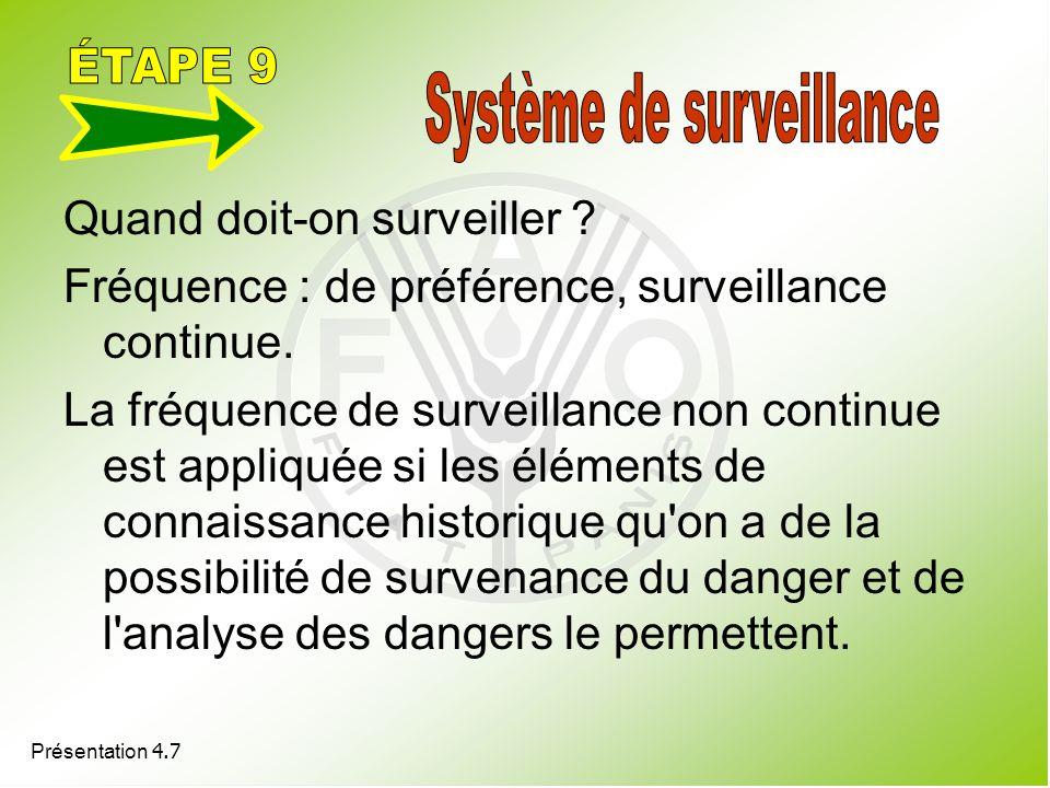 Présentation 4.7 Quand doit-on surveiller ? Fréquence : de préférence, surveillance continue. La fréquence de surveillance non continue est appliquée