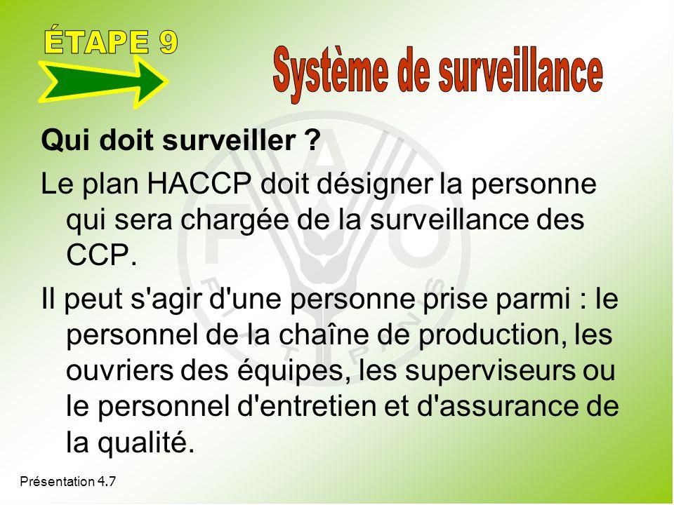 Présentation 4.7 Qui doit surveiller ? Le plan HACCP doit désigner la personne qui sera chargée de la surveillance des CCP. Il peut s'agir d'une perso