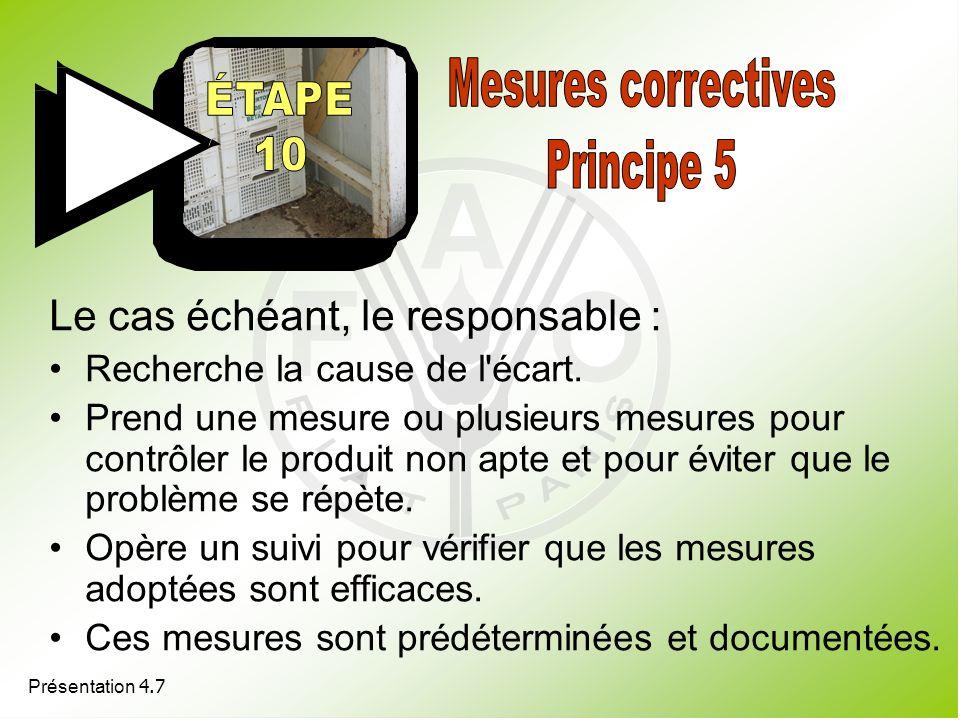 Présentation 4.7 Le cas échéant, le responsable : Recherche la cause de l'écart. Prend une mesure ou plusieurs mesures pour contrôler le produit non a
