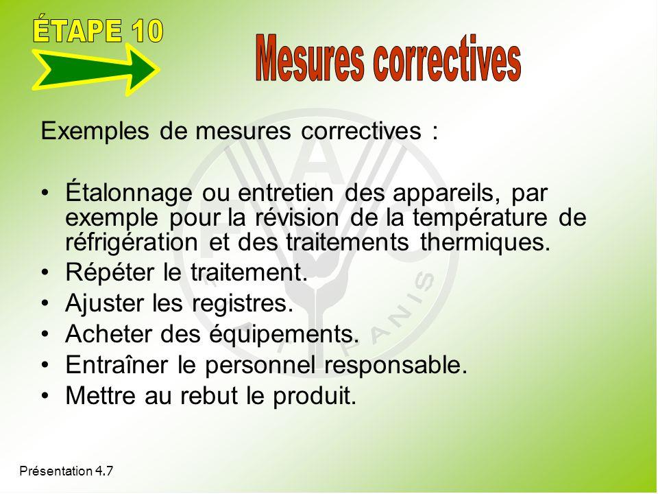 Présentation 4.7 Exemples de mesures correctives : Étalonnage ou entretien des appareils, par exemple pour la révision de la température de réfrigérat