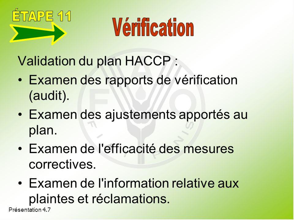 Présentation 4.7 Validation du plan HACCP : Examen des rapports de vérification (audit). Examen des ajustements apportés au plan. Examen de l'efficaci