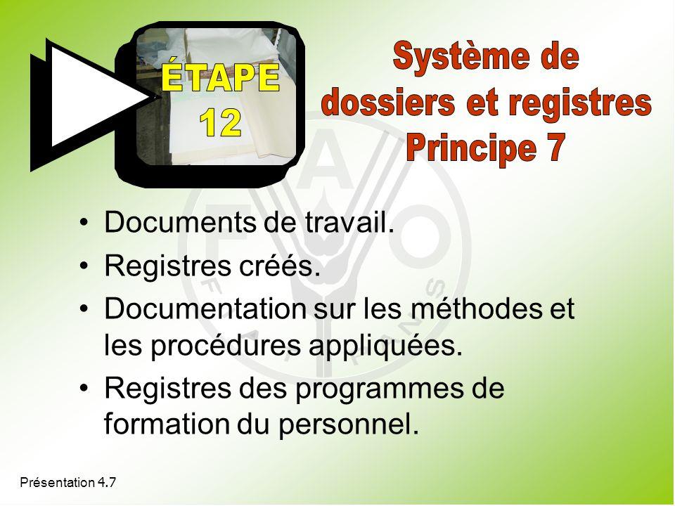 Documents de travail. Registres créés. Documentation sur les méthodes et les procédures appliquées. Registres des programmes de formation du personnel