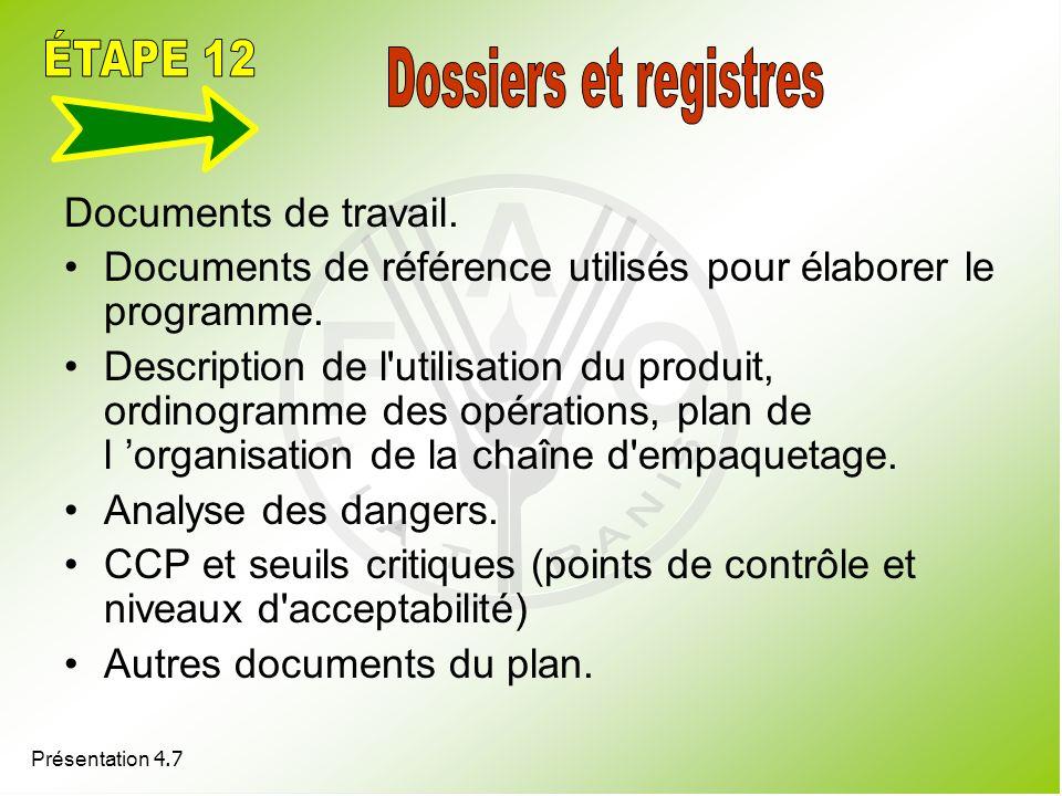 Présentation 4.7 Documents de travail. Documents de référence utilisés pour élaborer le programme. Description de l'utilisation du produit, ordinogram