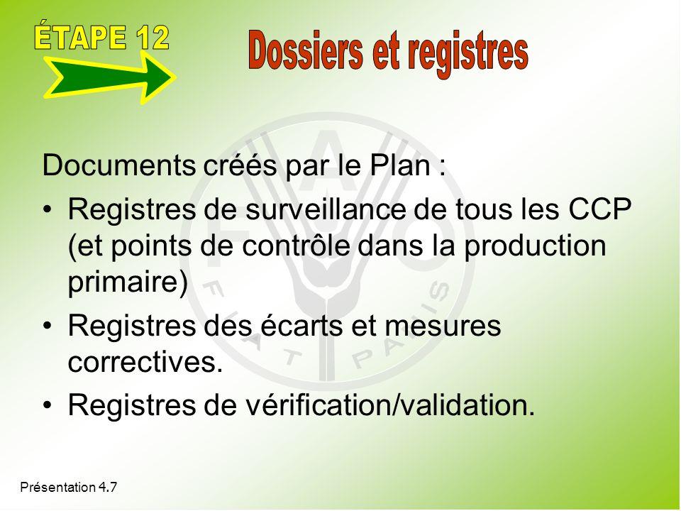 Présentation 4.7 Documents créés par le Plan : Registres de surveillance de tous les CCP (et points de contrôle dans la production primaire) Registres
