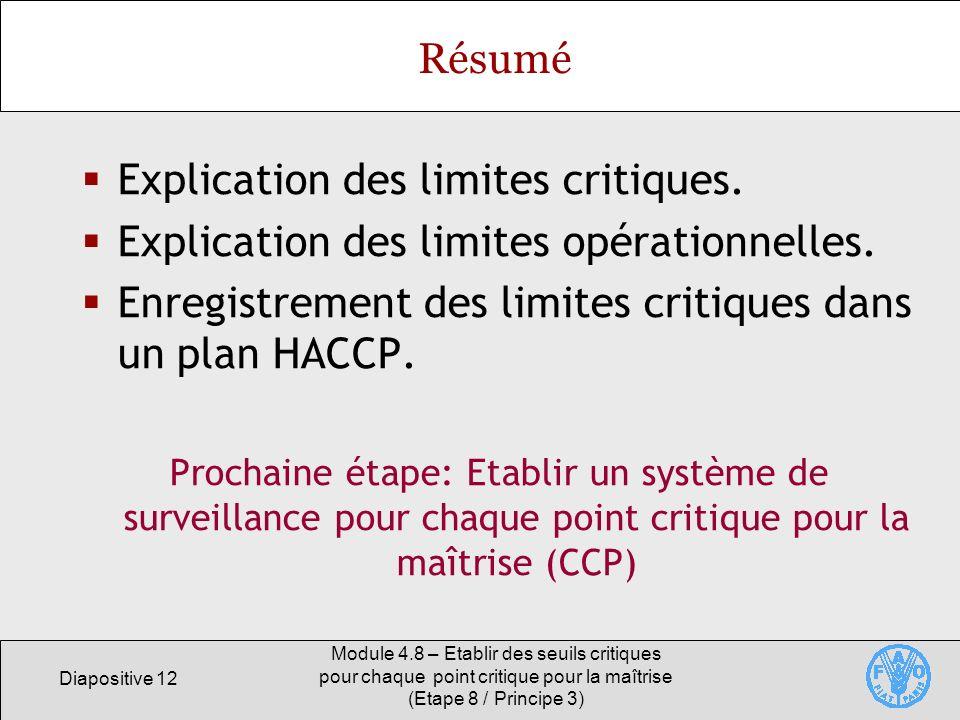 Diapositive 12 Module 4.8 – Etablir des seuils critiques pour chaque point critique pour la maîtrise (Etape 8 / Principe 3) Résumé Explication des lim