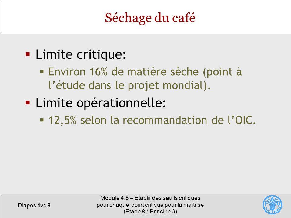 Diapositive 8 Module 4.8 – Etablir des seuils critiques pour chaque point critique pour la maîtrise (Etape 8 / Principe 3) Séchage du café Limite crit