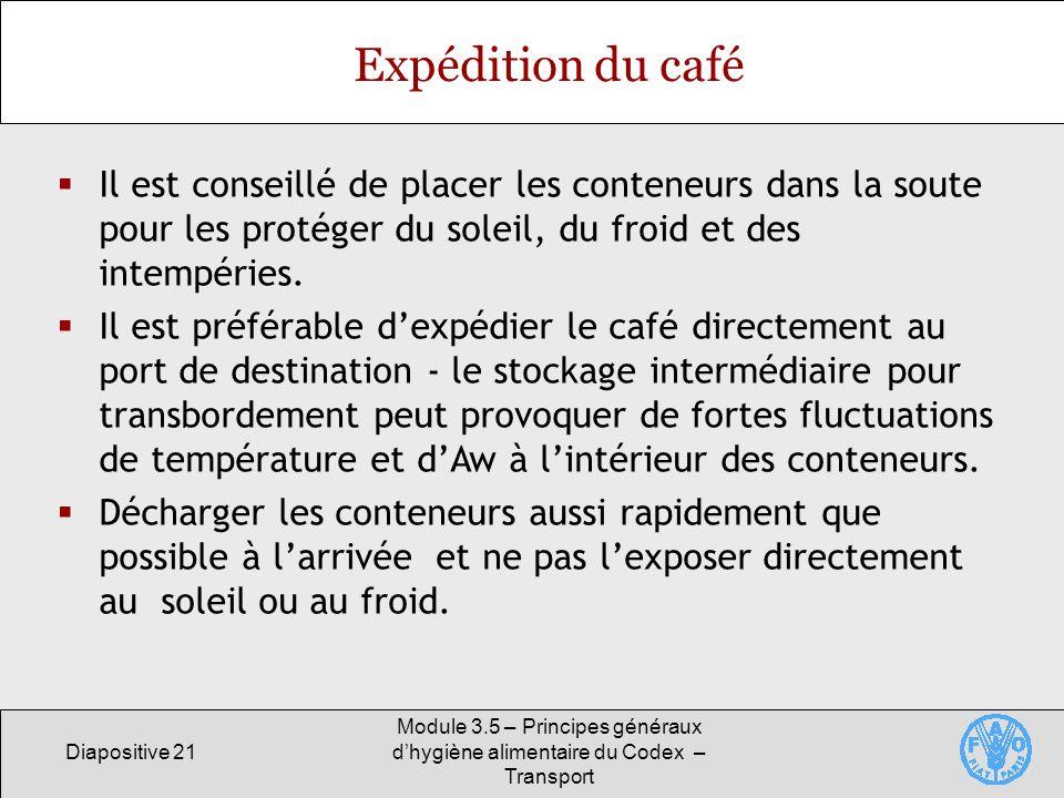 Diapositive 21 Module 3.5 – Principes généraux dhygiène alimentaire du Codex – Transport Expédition du café Il est conseillé de placer les conteneurs dans la soute pour les protéger du soleil, du froid et des intempéries.