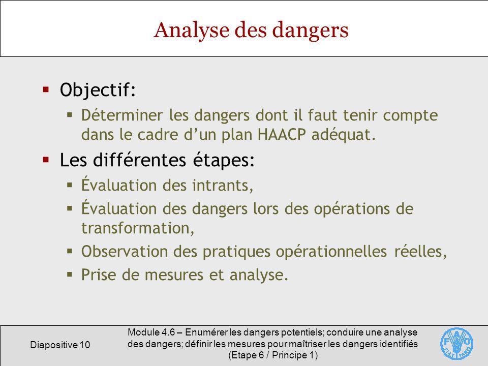 Diapositive 10 Module 4.6 – Enumérer les dangers potentiels; conduire une analyse des dangers; définir les mesures pour maîtriser les dangers identifi