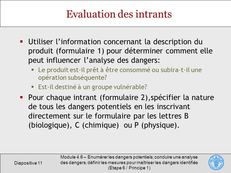 Diapositive 11 Module 4.6 – Enumérer les dangers potentiels; conduire une analyse des dangers; définir les mesures pour maîtriser les dangers identifi