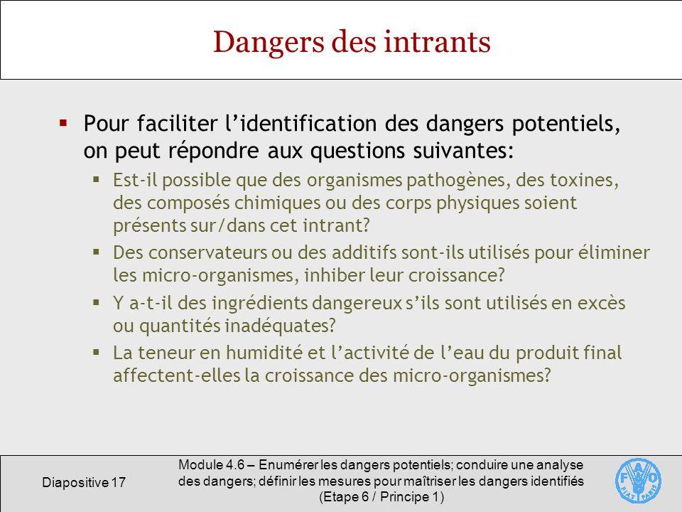 Diapositive 17 Module 4.6 – Enumérer les dangers potentiels; conduire une analyse des dangers; définir les mesures pour maîtriser les dangers identifi