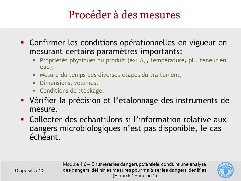 Diapositive 23 Module 4.6 – Enumérer les dangers potentiels; conduire une analyse des dangers; définir les mesures pour maîtriser les dangers identifi