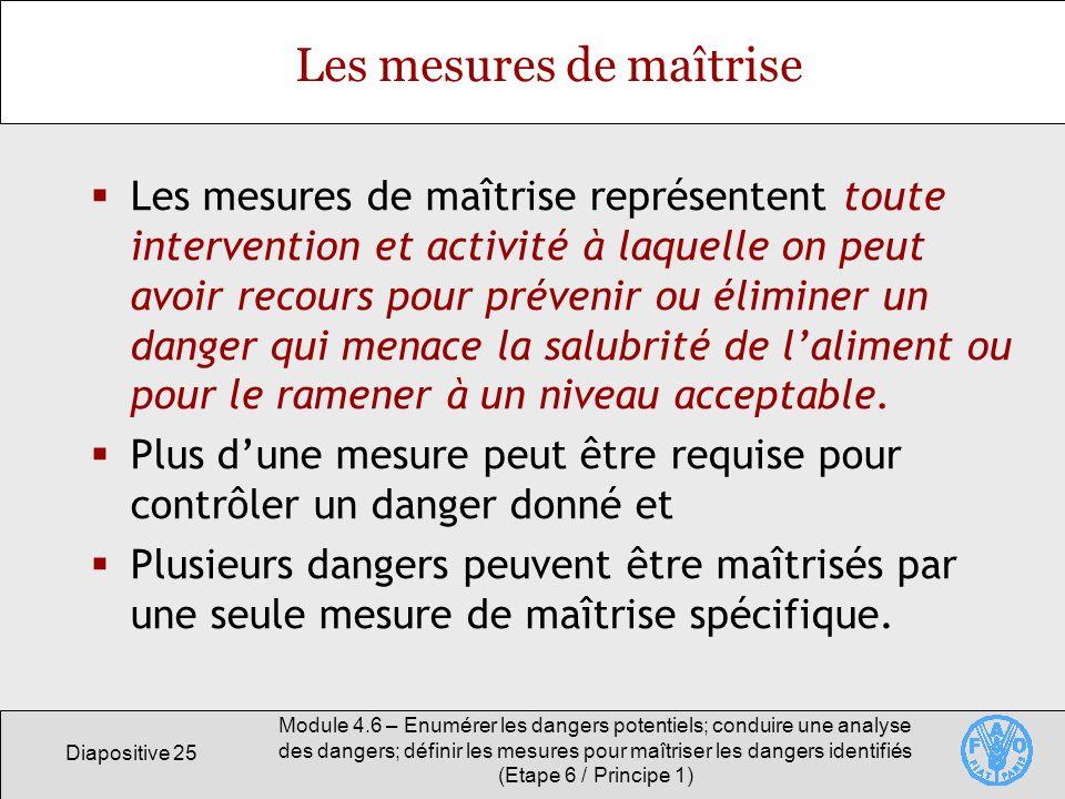 Diapositive 25 Module 4.6 – Enumérer les dangers potentiels; conduire une analyse des dangers; définir les mesures pour maîtriser les dangers identifi