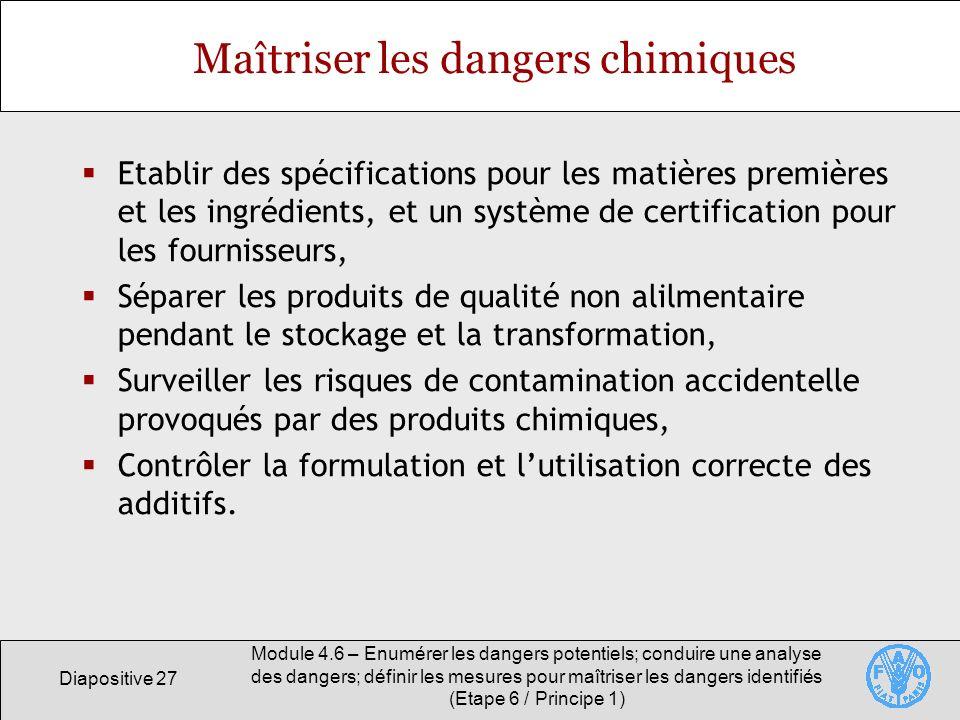 Diapositive 27 Module 4.6 – Enumérer les dangers potentiels; conduire une analyse des dangers; définir les mesures pour maîtriser les dangers identifi