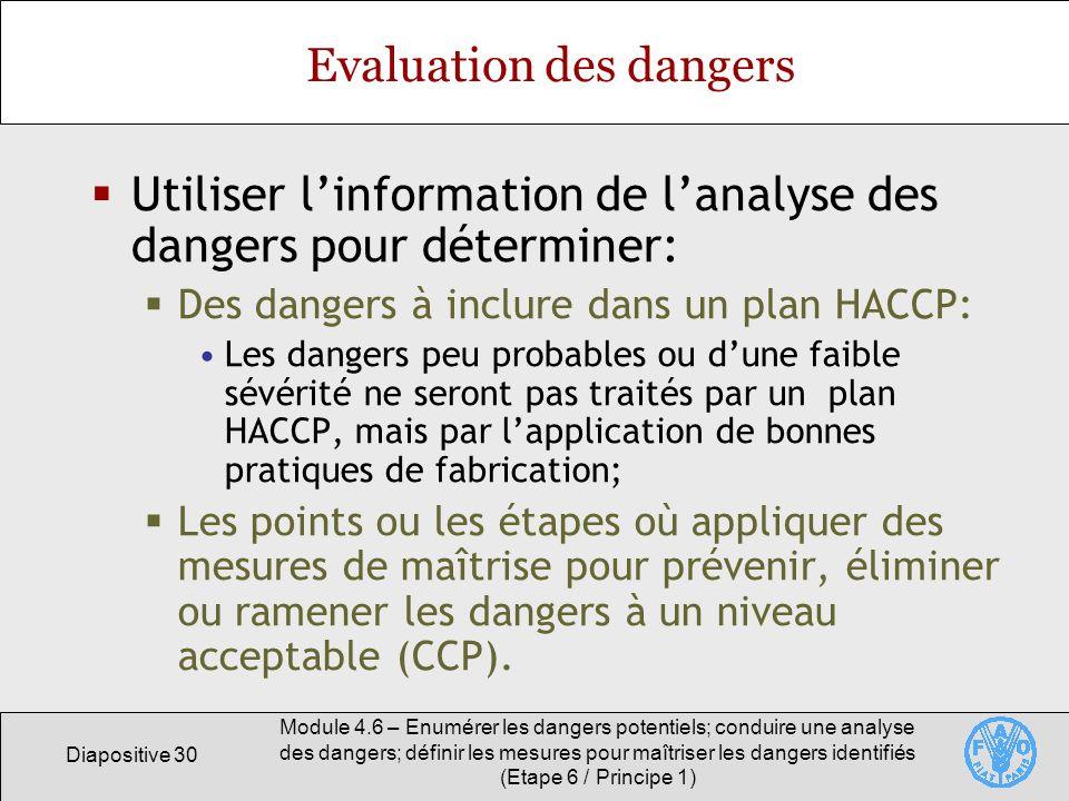 Diapositive 30 Module 4.6 – Enumérer les dangers potentiels; conduire une analyse des dangers; définir les mesures pour maîtriser les dangers identifi