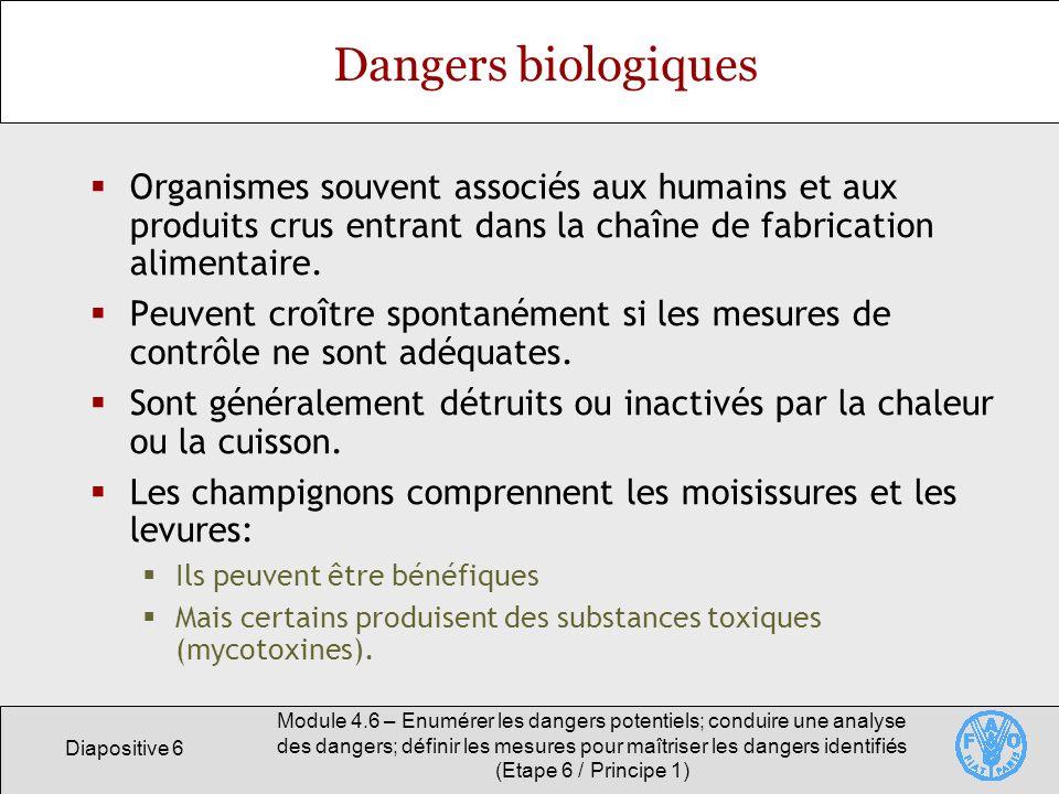 Diapositive 6 Module 4.6 – Enumérer les dangers potentiels; conduire une analyse des dangers; définir les mesures pour maîtriser les dangers identifié