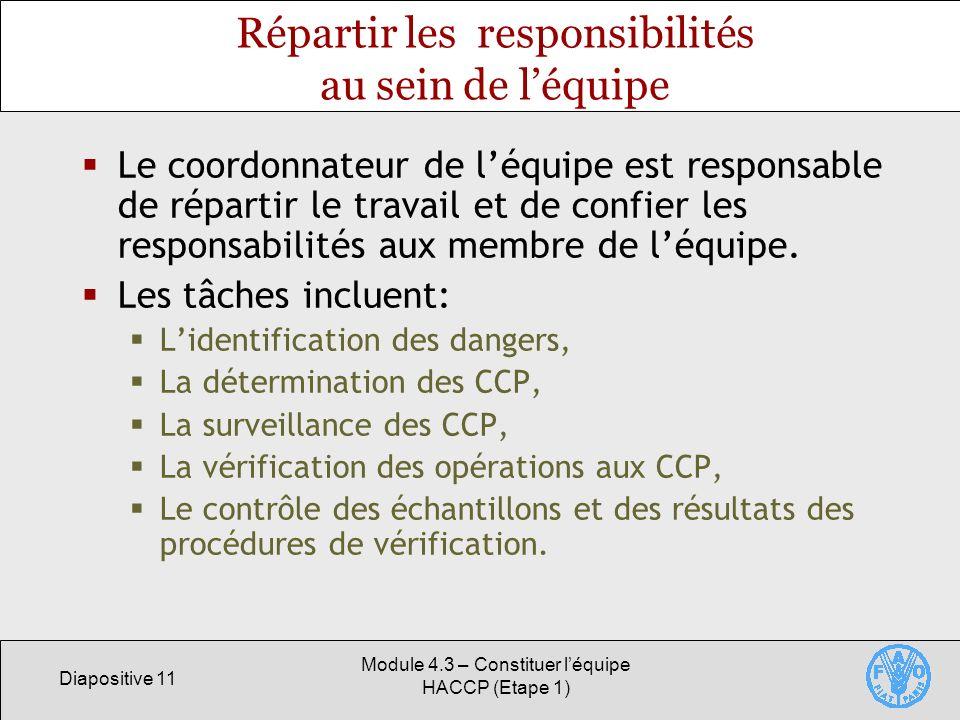 Diapositive 11 Module 4.3 – Constituer léquipe HACCP (Etape 1) Répartir les responsibilités au sein de léquipe Le coordonnateur de léquipe est responsable de répartir le travail et de confier les responsabilités aux membre de léquipe.